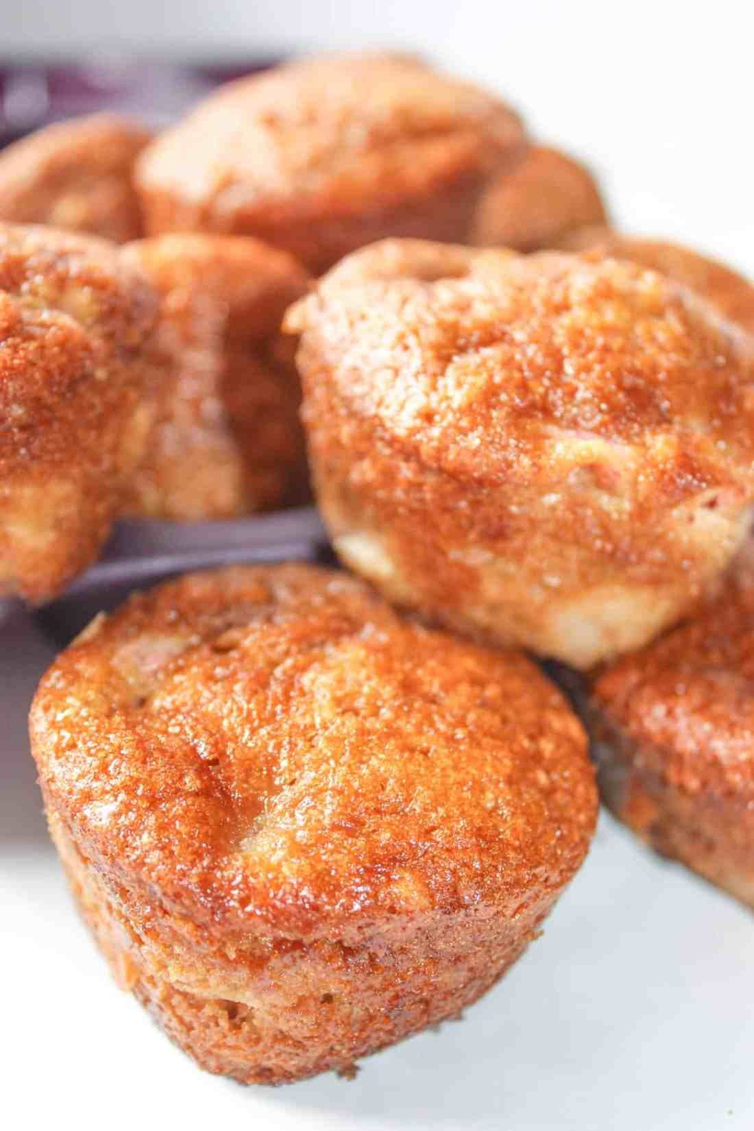 Gluten Free Rhubarb Muffins are a moist, tasty snack loaded with seasonal Rhubarb.  These gluten free muffins are great on their own or pair them with your favourite beverage.