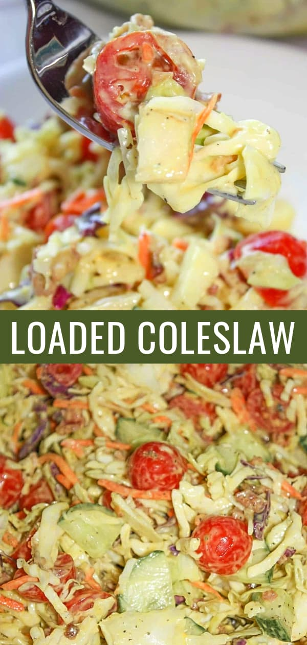 Loaded Coleslaw is a delicious summer side dish recipe perfect for potlucks. This cabbage slaw is loaded with tomatoes, cucumbers, bacon and pears.
