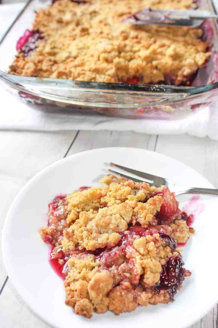 Every summer I eagerly await the arrival of fresh blueberries!  No one else in my family feels the same way about them as I do so I have to mix them with another fruit.  Gluten Free Blueberry Apple Crumble is a delcious blend of these two fruits.