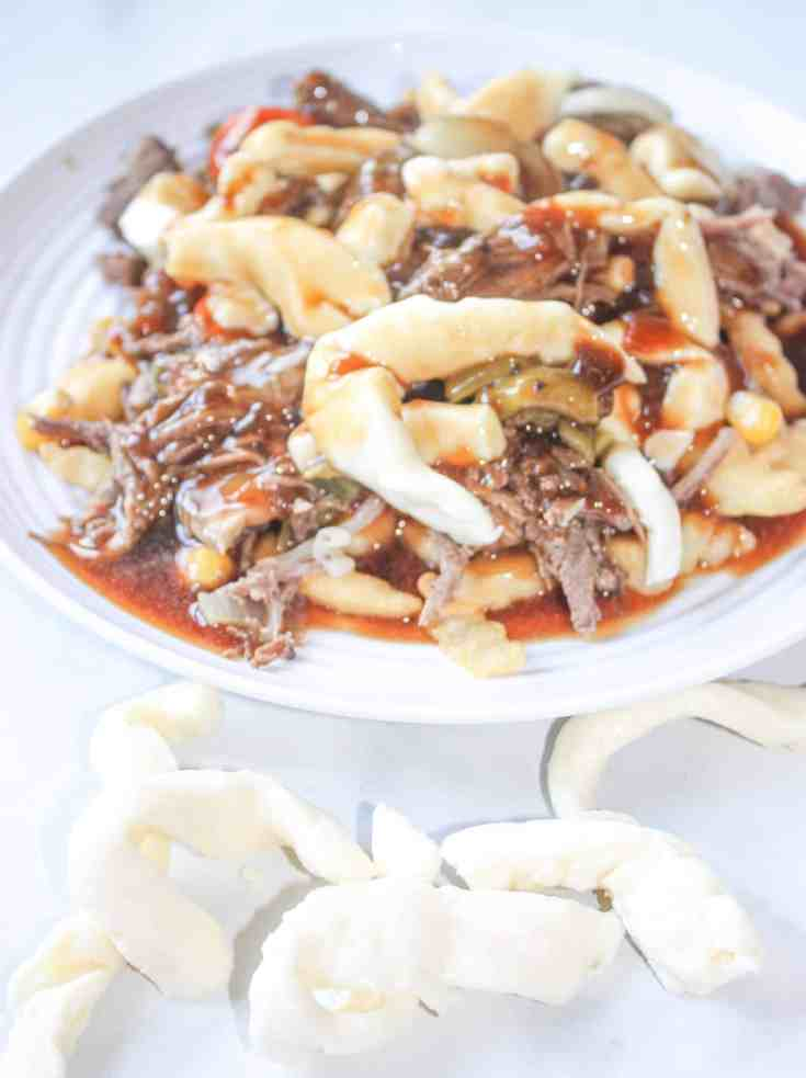 Roast Beef Dinner Poutine is a very tasty way to use up leftover roast beef from that big Sunday dinner.  Make sure to use gluten free gravy packets and you are good to go!