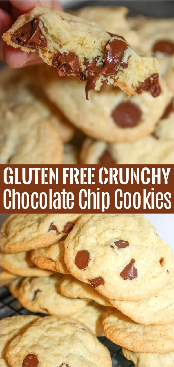 Gluten Free Crunchy Chocolate Chip Cookies are a delicious homemade cookie recipe. These crispy chocolate chip cookies are loaded with semi sweet chocolate chips and made with Bob's Red Mill gluten free flour.