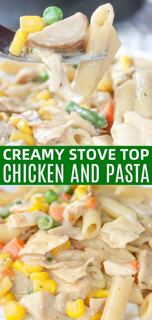 Creamy Stove Top Chicken and Pasta is an easy gluten free dinner recipe. This stove top pasta is loaded with mixed vegetables and chunks of chicken all in a creamy gravy sauce.