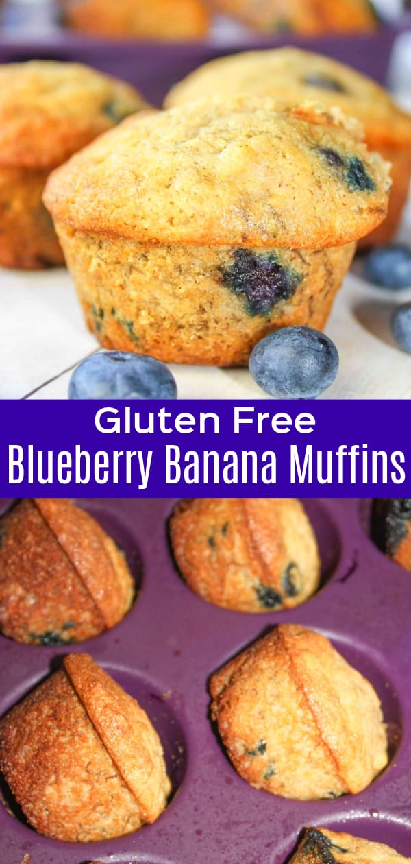 Gluten Free Blueberry Banana Muffins are a delicious snack made with fresh blueberries, ripe bananas and Bob's Red Mill gluten free flour.