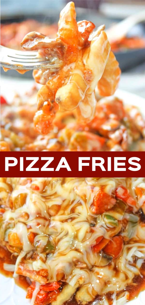 Pizza Fries are a simple and delicious dinner recipe loaded with pepperoni, bacon, peppers, mushrooms, gravy, pizza sauce and cheese.