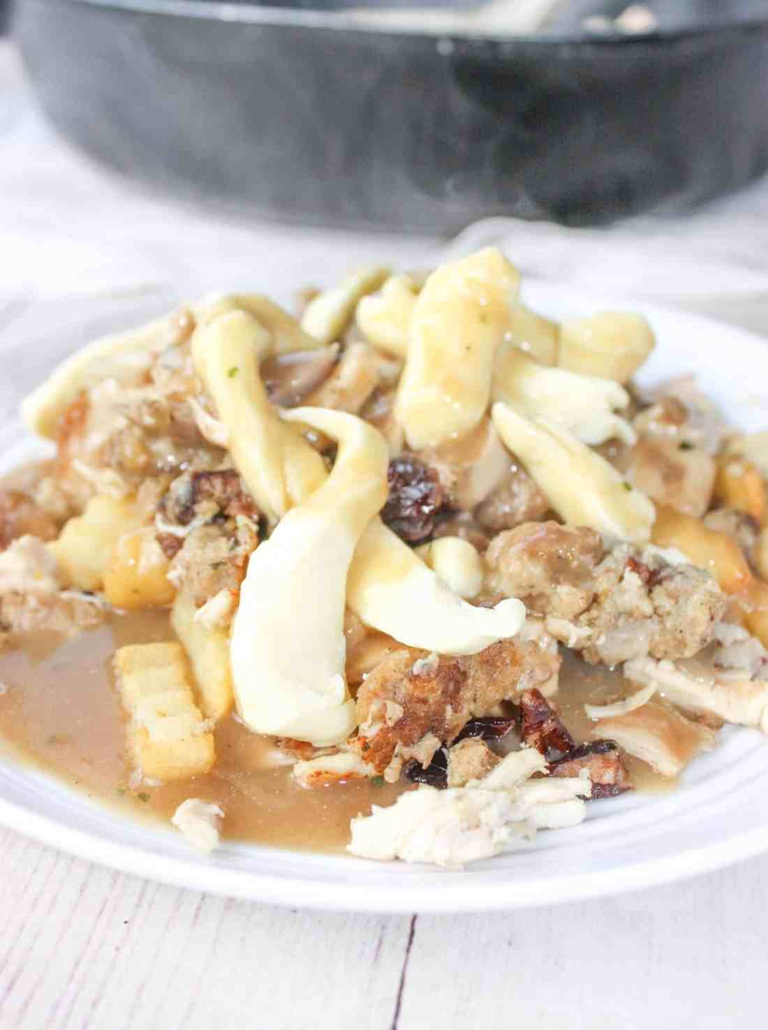 With Canadian Thanksgiving behind us and American Thanksgiving around the corner, Festive Poutine is an easy, tasty way to use up some holiday meal leftovers.