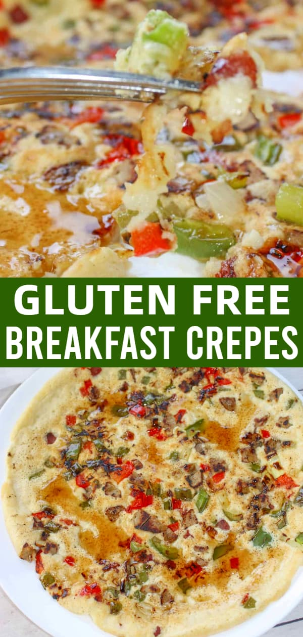 Gluten Free Breakfast Crepes are a delicious crepe recipe loaded with peppers, onions and sausage meat.
