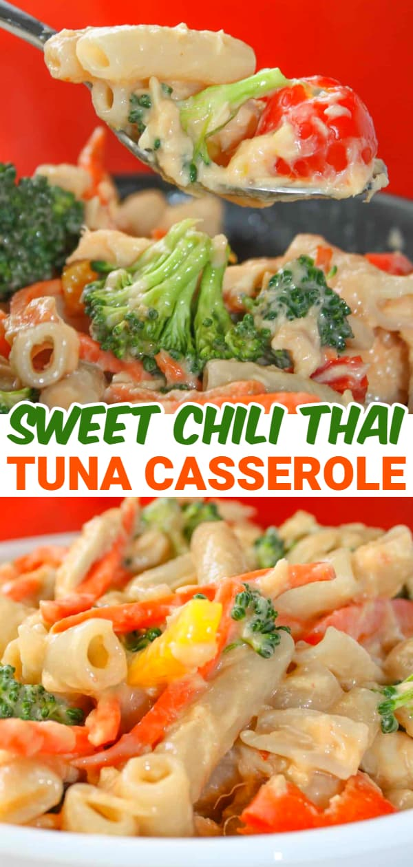 Sweet Chili Thai Tuna Casserole is an easy stove top dinner recipe. This gluten free pasta dish is loaded with tuna and vegetables to provide a hearty meal for the whole family.