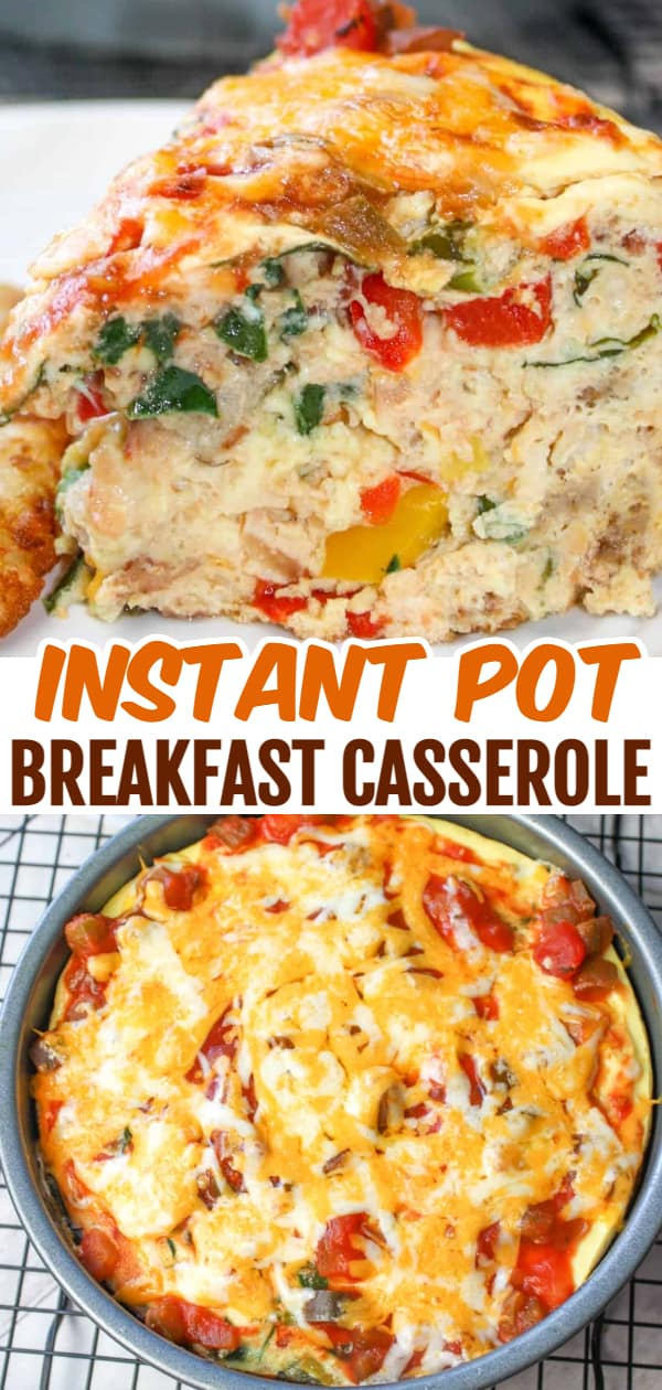 Instant Pot Breakfast Casserole is a delicious gluten free pressure cooker recipe. This egg casserole is loaded with peppers, onions, sausage, bacon, cheese and salsa.