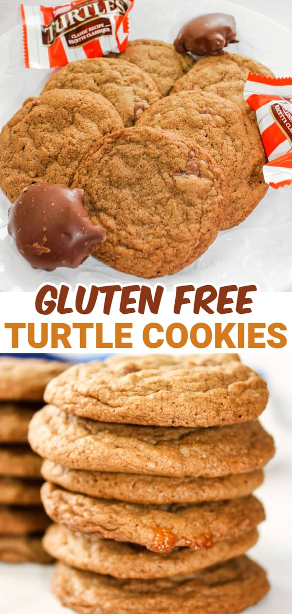 Turtle Cookies take a popular chocolate candy and bake it into another classic dessert to create a decadent chocolate, caramel, pecan experience.
