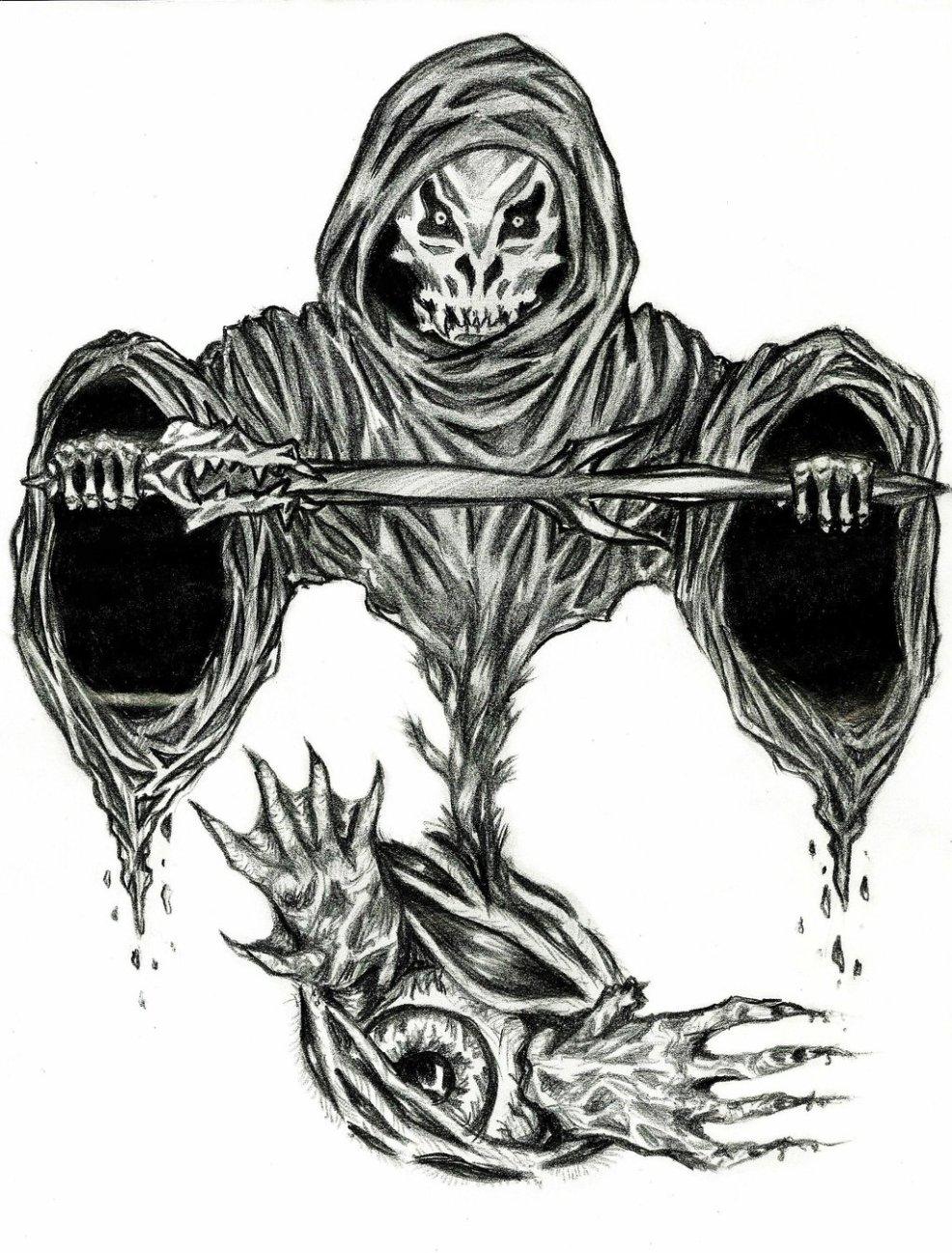 эскиз тату смерть с мечом
