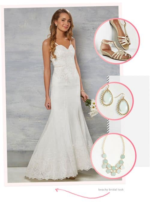 Awesome and Affordable Dresses and Accessories from the New ModCloth Wedding Line: Beachy Bridal Look #bride #weddinggown #bridalgown #wedding dress