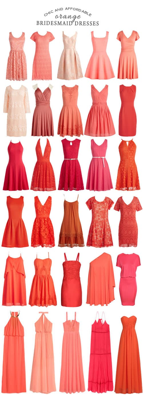 A Selection of Chic and Affordable Orange Bridesmaid Dresses #fashion #ornage #weddings #bridesmaids #ceremony #reception