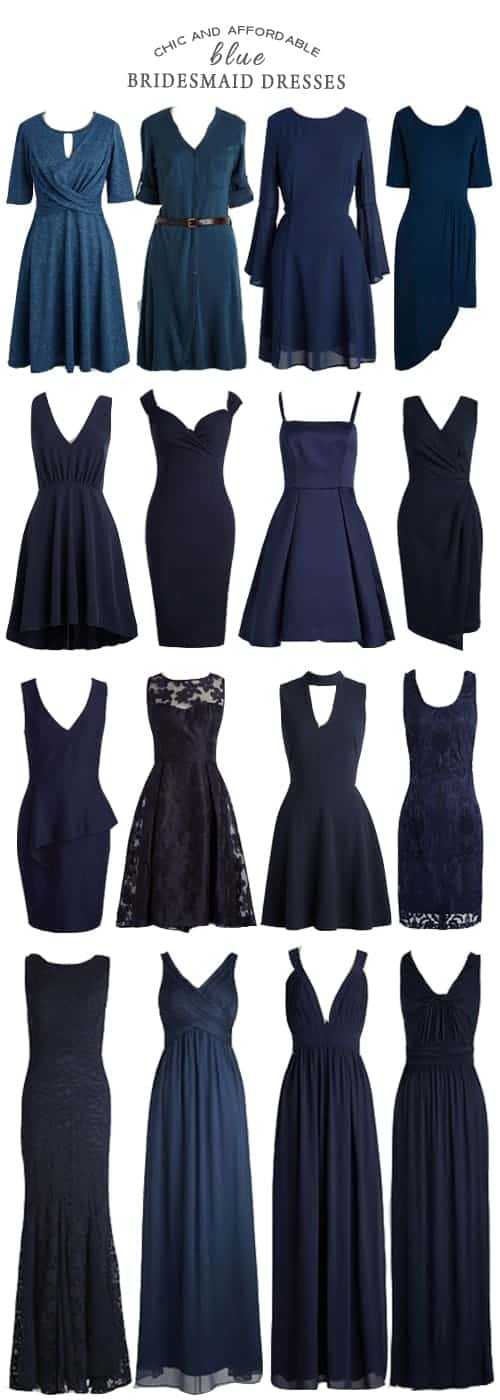 A Selection of Chic and Affordable Blue Bridesmaid Dresses