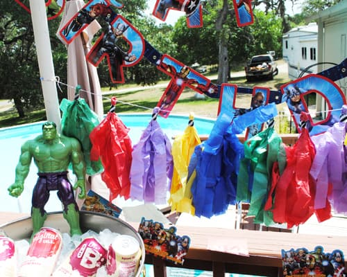 Melanie's Marvel Avengers Birthday Party And Favor Bags On A Budget #GirlsLoveSuperheroesToo #Marvel #Avengers #BirthdayParty #Thor #IronMan #CaptainAmerica #BlackWidow #Hulk #Hawkeye