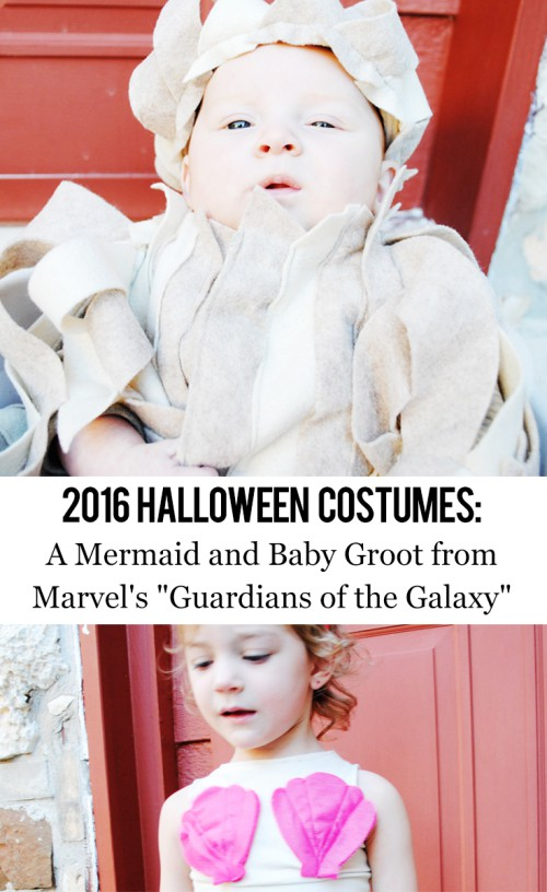 Melanie and Finn's 2016 Halloween Costumes: A Mermaid and Baby Groot from Marvel's Guardians of the Galaxy