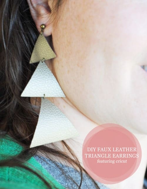DIY Faux Leather Triangle Earrings Featuring @OfficialCricut #ad #fashion #OOTD #accessory #DIY #FixerUpper #Handmade #jewelry #earrings #vegan #Cricut