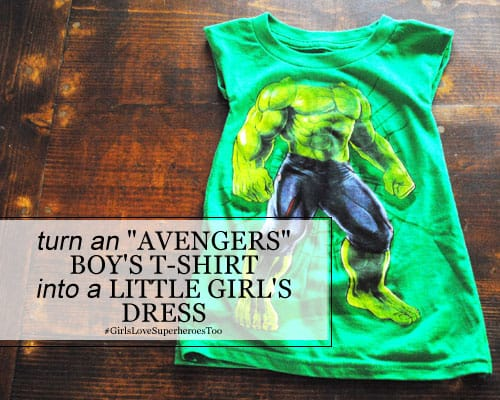 "DIY: Turn an ""Avengers"" Boy's T-Shirt into a Little Girl's Dress"