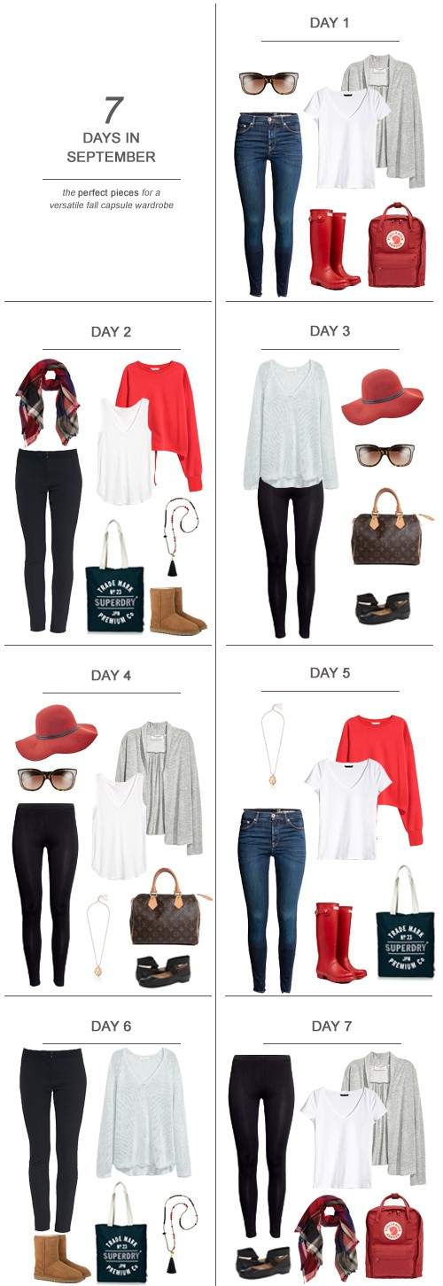 7 Days in September : The Perfect Pieces for a Versatile Fall Capsule Wardrobe #capsulewardrobe #ootd #momstyle #moms #sahm #wahm #packinglist #fall