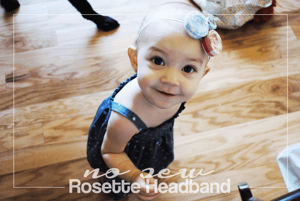 No Sew Rosette Headband in Red, White, and Blue #Olympics #DIY #nosew #easy #baby #USA
