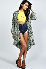 Yellow Crop Top, High-waisted Denim and Larna Paisley Longline Kimono