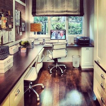 This looks like the perfect little nook of an office perfect for an extra room near the kitchen.
