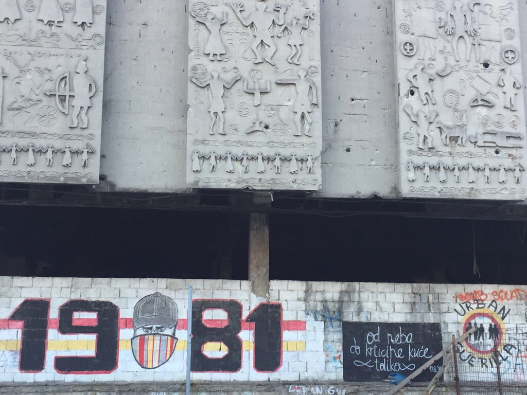 Cave-like paintings and urban Guerilla: Velez Mostar's Red Army fan club on a graffiti close to the trainstation