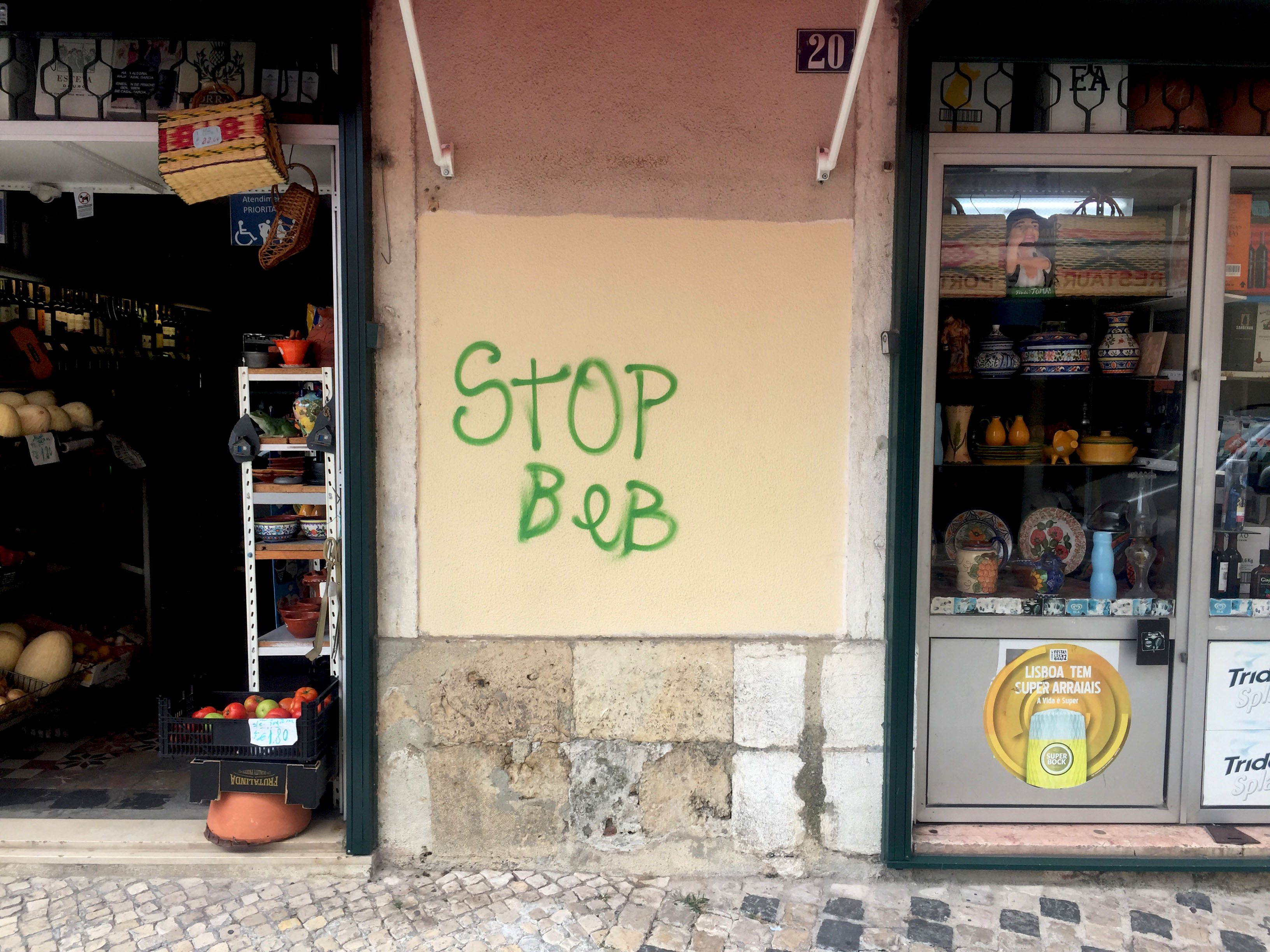 Lisbon: Anti Airbnb Graffiti can be seen everywhere in the city