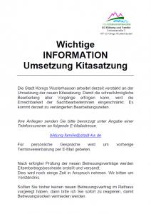Wichtige Information Stadt KW Umsetzung Kitasatzung