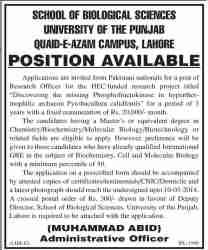 University of Punjab PU Jobs 2014 School of Biological Sciences Application Form Dates