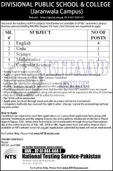 DPS Jaranwala Campus Teachers Jobs 2014 NTS Test Answer Key Result Divisional Public School & College