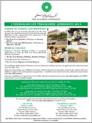 Aga Khan University Karachi Admission 2014 in Science in Nursing, Science in Midwifery Application Form Eligibility