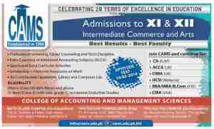 CAMS College Karachi Admissions in FSC Pre Medical Pre Engineering, FA General Science/Arts, ICom