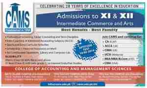 CAMS College Karachi Admissions in FSC Pre Medical Pre Engineering, FA General Science/Arts, ICom