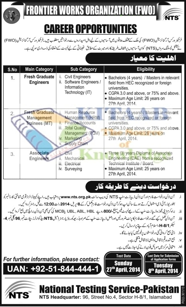 Frontier Works Organization FWO Jobs 2016 NTS Test Eligibility and Registration Procedure Schedule | NTS Test 2014 Answer Key Result