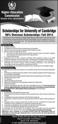HEC Offering Overseas Scholarships 2014 for University of Cambridge Eligibility, Registration, Apply Online