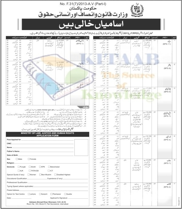 Ministry of Law Justice and Human Rights Govt Of Pakistan Jobs 2015 Lahore, Karachi, Peshawar Application Forms