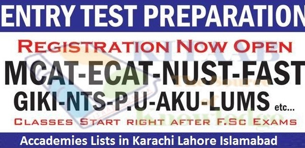 Tuition MCAT ECAT Entry Test Preparation Best Academies in Lahore Islamabad Karachi