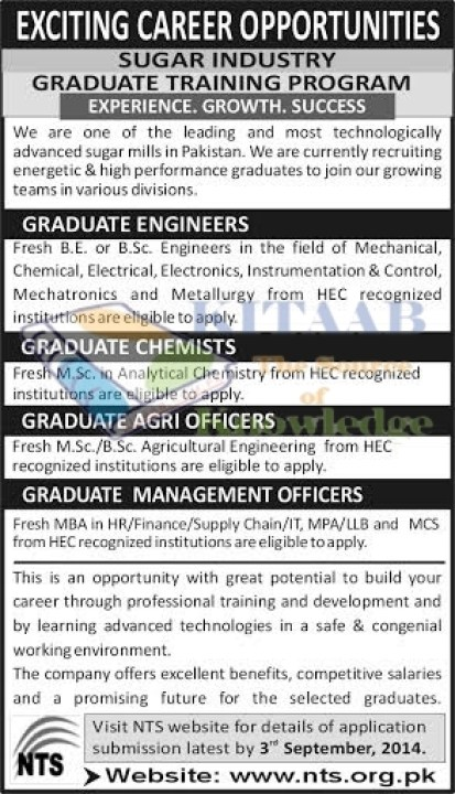 Sugar Industry NTS Test 2014 Career Opportunities Graduate Training Program