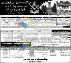 Join Pakistan PAF Jobs 2015 Eligibility Criteria Online Apply As Provost, Aero Trade, GC, Sportsman & Musician