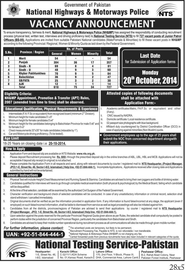 NTS Test 2016 NH & MP Jobs National Highways & Motorway Police Junior Patrol Officer