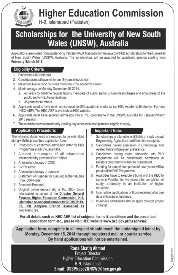 HEC Australia Scholarship 2015 Eligibility, Application Form Last Date Procedure