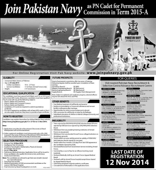 Join Pak Navy As A PN Cadet Permanent Commission Term 2017-A Schedule Check Status & ISSB Call Letter Download