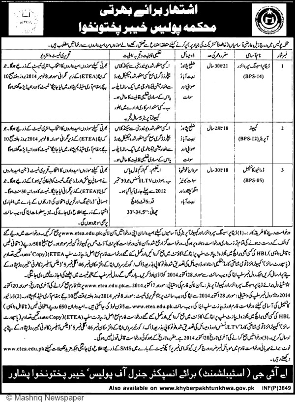 KPK Police Jobs 2015 Eligibility Criteria Registration Form Date Processing Computer Operator