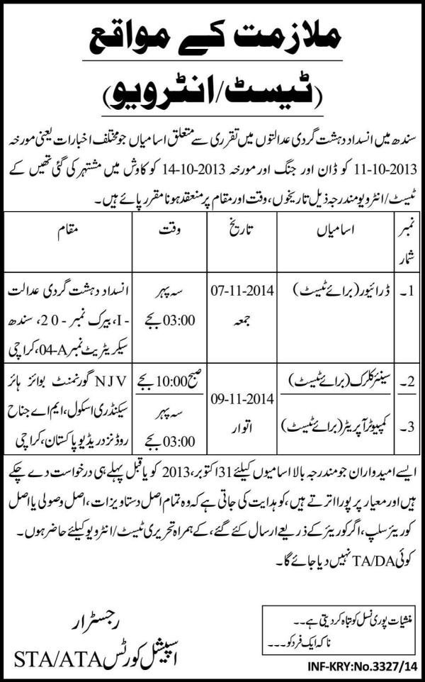 Sindh Police Anti Terrorism Jobs 2019 Written Test Interview Date