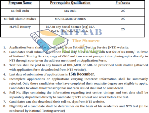 GC Mandi Bahauddin Admission NTS Test 2014-15 Application Form Eligibility Criteria Last Date