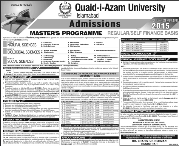 Quaid e Azam University QAU Admission 2017 Application Form Eligibility Criteria Fee Last Date