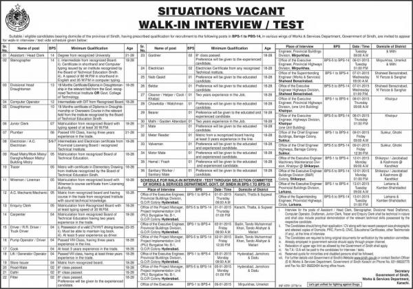 Sindh Workers and Service Department Jobs 2016 Application Form Written Test Interview Dates