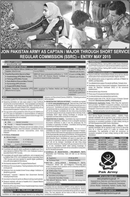 Join Pak Army As Captain / Major Through Short Services Regular Commission SSRC Entry 2015 Apply Online Form Eligibility