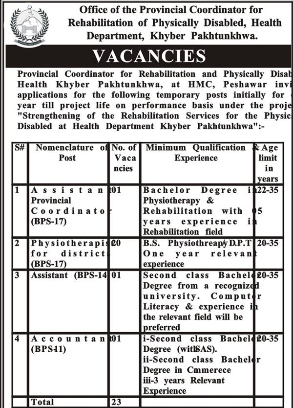 HMC, Peshawar Jobs 2015 NTS Test Answer Key Result Rehabilitation Services for Physically Disabled Health Office