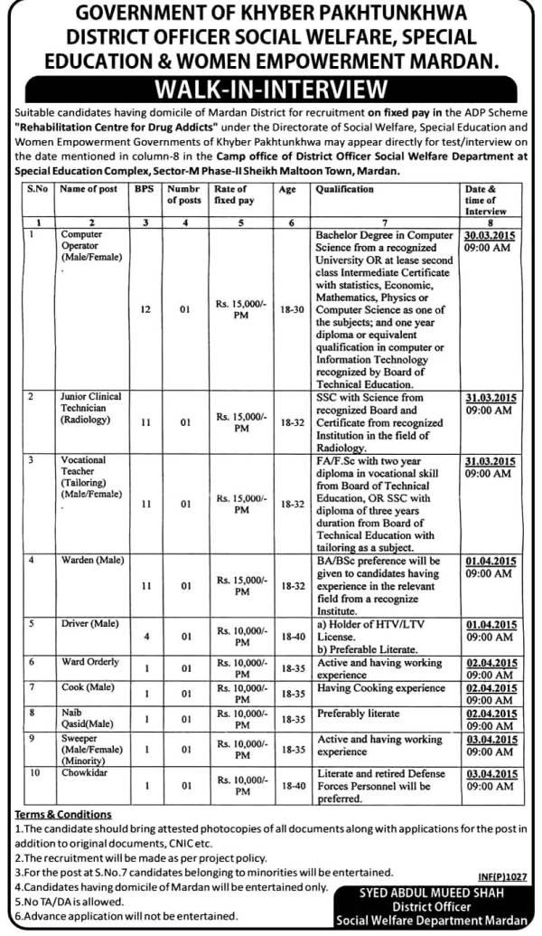 KPK Govt District Officer Social Welfare Jobs 2015 Application Form Interview Dates